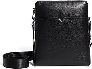 Crossbody Bag Genuine Leather Shoulder Bags Casual Men's Small Square Bag Black Cowhide 3L Leather Bag Outdoor Work Bag Fashion Men's Bag Cross-Package