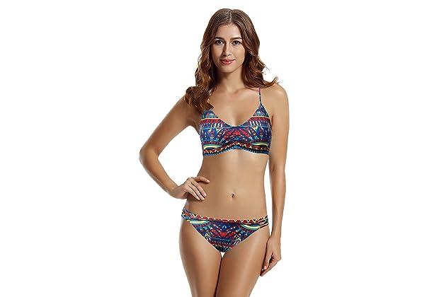 a81471a6ed9 zeraca Women s Strap Side Bottom Halter Racerback Bikini Bathing Suits  (FBA) Red