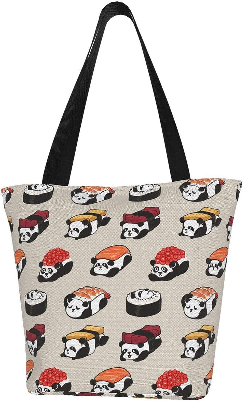 Japanese Sushi Kawaii Cute Panda Themed Printed Women Canvas Handbag Zipper Shoulder Bag Work Booksbag Tote Purse Leisure Hobo Bag For Shopping