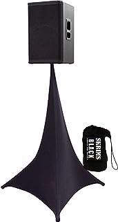 Amazin Gear SKRIMS Tripod Speaker Stand Stretch Cover - Triple Sided DJ Scrim - Black Spandex DJ Skirt with 3-Sides +FREE ...