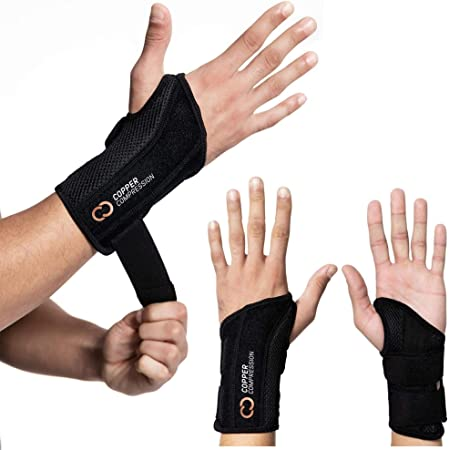 Copper Compression Recovery Wrist Brace - Guaranteed Highest Copper Content Support for Wrists, Carpal Tunnel, Arthritis, Tendonitis, RSI, Sprain. Night Day Splint for Men Women - Fit Right Hand S-M