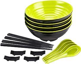 KDKD 4 Sets Ramen Bowl Sets (16 pieces) Melamine Large Noodle Bowls. 8 Inch Asian Chinese Japanese Thai Miso Udon Wonton S...