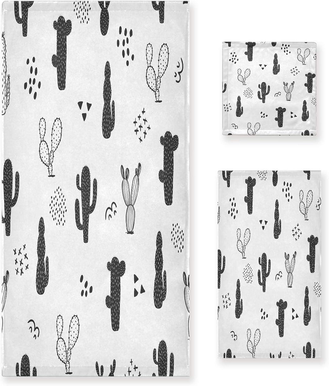 有名な Black and White Cacti ストアー Towel Sets Gym Bathroom Kitch for Hotel
