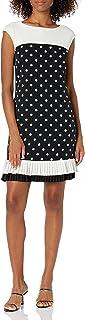 فستان حريمي من Sandra Darren مصنوع من قماش الكريب المطبوع بكتف ممتد