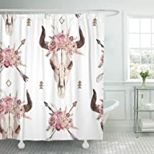 Emvency Shower Curtain Watercolor Boho of Arrows Bull Skull Horns Floral Arrangement Waterproof Polyester Fabric 72 x 72 Inches Set with Hooks