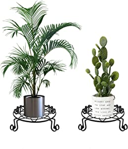 Metal Plant Stand, Heavy Duty Plant Stand for Indoor and Outdoor, Black Flower Pot Holder Display with Scroll Pattern Perfect for Home, Garden, Patio(11 inch 2 Pcs)