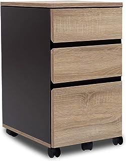 DOMY HOME デスクサイドワゴン キャスター付き 3段 キャビネット 袖机 オフィス収納 A4対応 パソコンデスク用 オフィスデスク用 サイドワゴン 幅40×奥行54×高さ59cm (オーク)