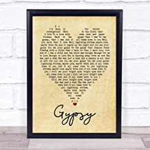 "123 BiiUYOO Gypsy Fleetwood Mac Vintage Heart Quote Song Lyric Print 12"" x 10"" Inches"