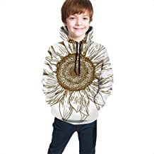 Teens Hoodies Sweatshirts 3D Digital Print Sweatshirts with Pockets - Vector Antique Engraving Drawing Illustration of Big Sunflower Isolated On White Background