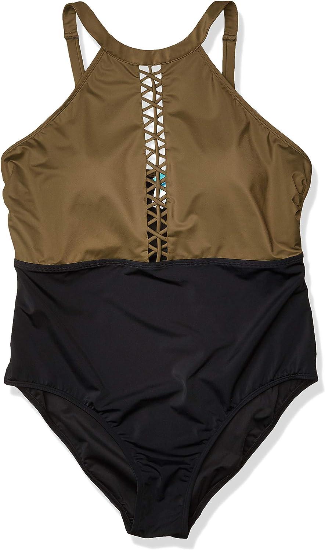 Amazon Brand - Coastal Blue Women's Plus Size Swimwear Color Block Swimsuit with Lattice Detail