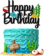 Gone Fishing Cake Topper Bobber Fish Little Fisherman Theme Cake Decorations for Kids Baby Boy Girl Happy Birthday Party Supplies Double Sided Black Sparkle Décor
