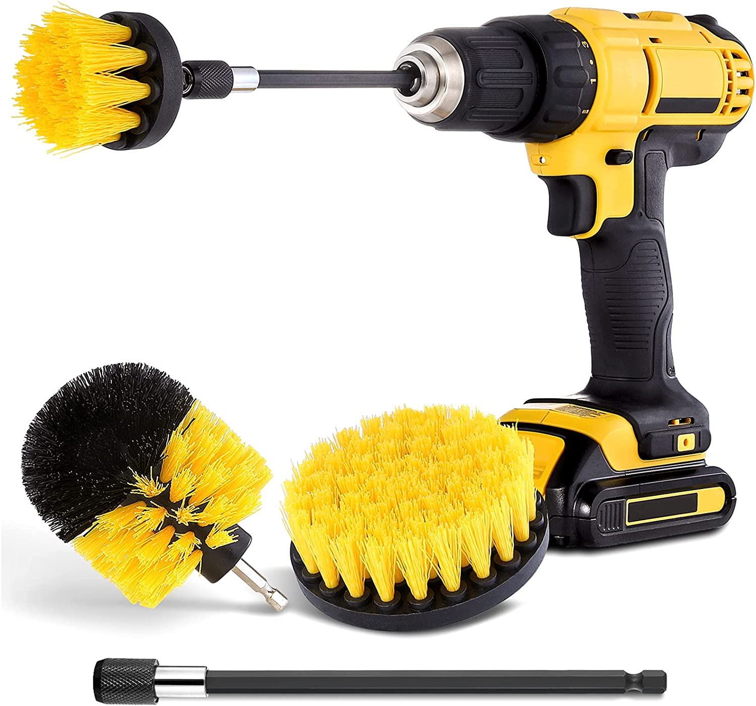 Drill Brush Attachment Set - Power Scrubber Brush Cleaning Kit - All Purpose Drill Brush with Extend Attachment for Bathroom Surfaces, Grout, Floor, Tub, Shower, Tile, Kitchen and Car : Health & Household