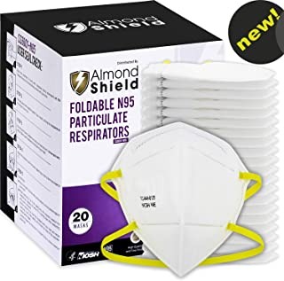 AlmondShield N95 Disposable & Foldable Dust Air Mask – NIOSH approved (20 Pack) Particulate Respirator for Construction, Demolition, Painting, DIY, Home, Emergency Kits, Personal Protective Equipment