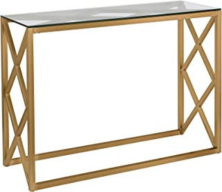 Best geometric gold glass console table Reviews