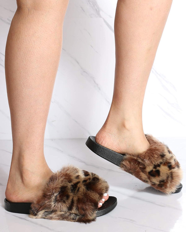 H2K Womens Casual Open Toe Slip On Fur Top Slides