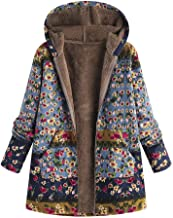 Womens Winter Warm Thick Plush Coat Jacket Floral Print Hooded Vintage Overcoat