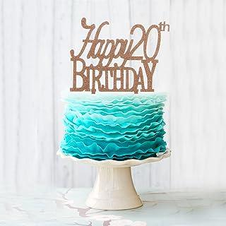 AERZETIX Twenty Brown Glitter Acrylic Cake Topper Happy 20th Birthday 20 Years Old Birthday Party Decoration