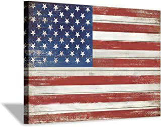 American Flag Canvas Wall Art: USA Old Glory Picture Wooden Texture Painting Artwork for Living Room Office (45'' x 30'' x 1 Panel)