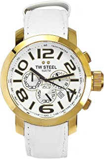 TW STEEL Mens Quartz Watch, Analog Display and Leather Strap TW55