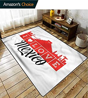 TableCoversHome Mexican Checkered Anti-Static Area Rugs, I Love Mexico Skyline Art Pattern Printing Rugs, Fashionable High Class Living Bedroom Rugs (5'x 8')