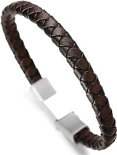 Halukakah Premium ● Tango ● Men's Genuine Leather Handmade Braid Bracelet Titanium Magnetic Clasp 8.5