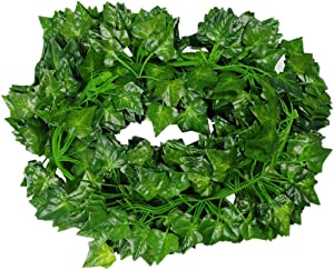 YANGTE Artificial Plants Ivy Leaves Garland, 82 Ft-12 Pack Fake Leaves Plants Greenery Garlands Vine Hanging Wedding Garland Fake Foliage Flowers Home Kitchen Garden Office Wedding Wall Decor