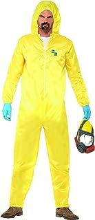 Smiffys Men's Breaking Bad Costume, Hazmat Suit, Latex Mask, Gloves & Goatee, Size: M, Color: Yellow, 20498