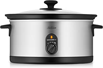 Sunbeam Slow Cooker | 5.5L (6-8 People) | Removable Easy-Clean Ceramic Pan | Stainless Steel