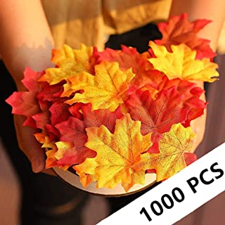 1000 Pcs 5 Colors Assorted Artificial Fall Leaves Fake Maple Leaves for Wedding Party Table Decoration Autumn Leaves for Crafts Halloween Thanksgiving Day Decor Fall Theme Party Decorations