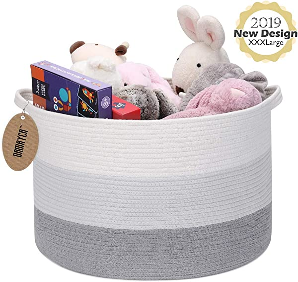 Extra Large Laundry Basket 21 7 X 21 7 X 13 8 Cotton Rope Basket For Large Storage Decorative Woven Basket With Handle Suitble For Blankets Pillows Toys Or Laundry