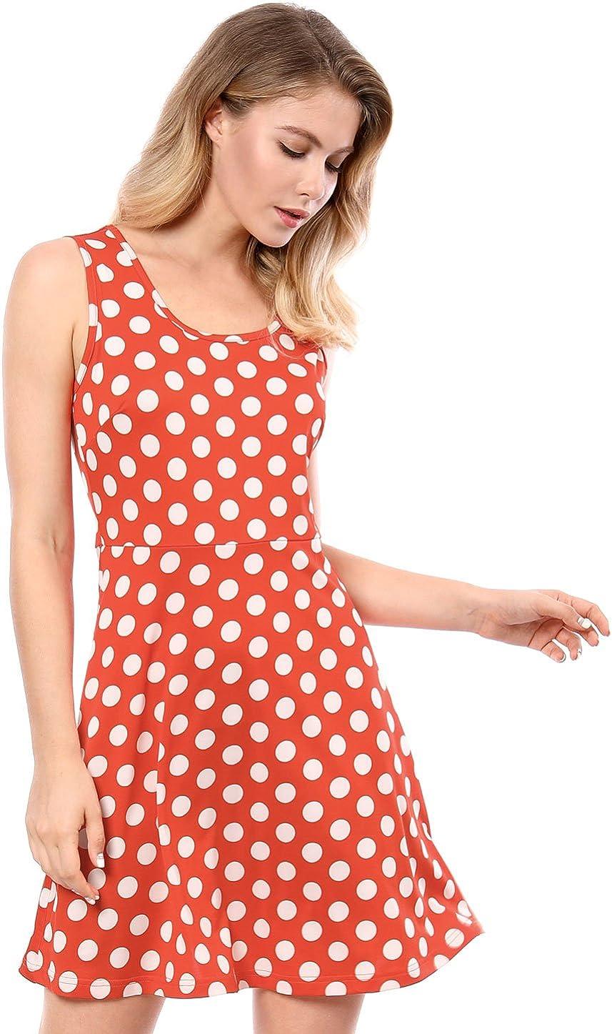 Allegra K Women's Polka Dots Summer A-Line Above Knee Sleeveless Vintage Dress