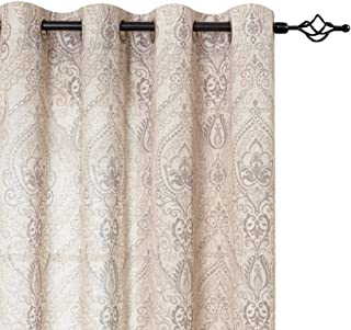 jinchan Damask Printed Curtains for Bedroom Drapes Vintage Linen Blend Medallion Curtain Panels Window Treatments for Living Room Patio Door 1 Pair 84
