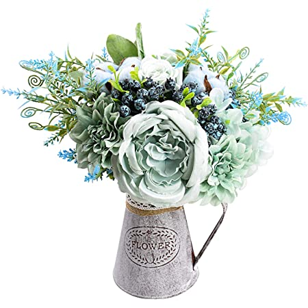 Amazon Com Relaxmate Artificial Flowers With Vase Flower Arrangements For Coffee Table Decor Decorations For Living Room Centerpieces For Dining Room Table Kitchen Dining