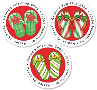 Christmas Flip-Flops Round Address Labels(3 Designs) - Self-Adhesive, Flat-Sheet Round Labels 1-1/2 Diameter Set pf 144