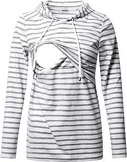 Women's Nursing Hoodie Sweatshirt Long Sleeves Breastfeeding Maternity Tops Casual Clothes