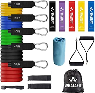 Whatafit Resistance Bands Set (17pcs), Exercise Bands with Door Anchor, Handles, Carry Bag, Legs Ankle Straps for Resistan...