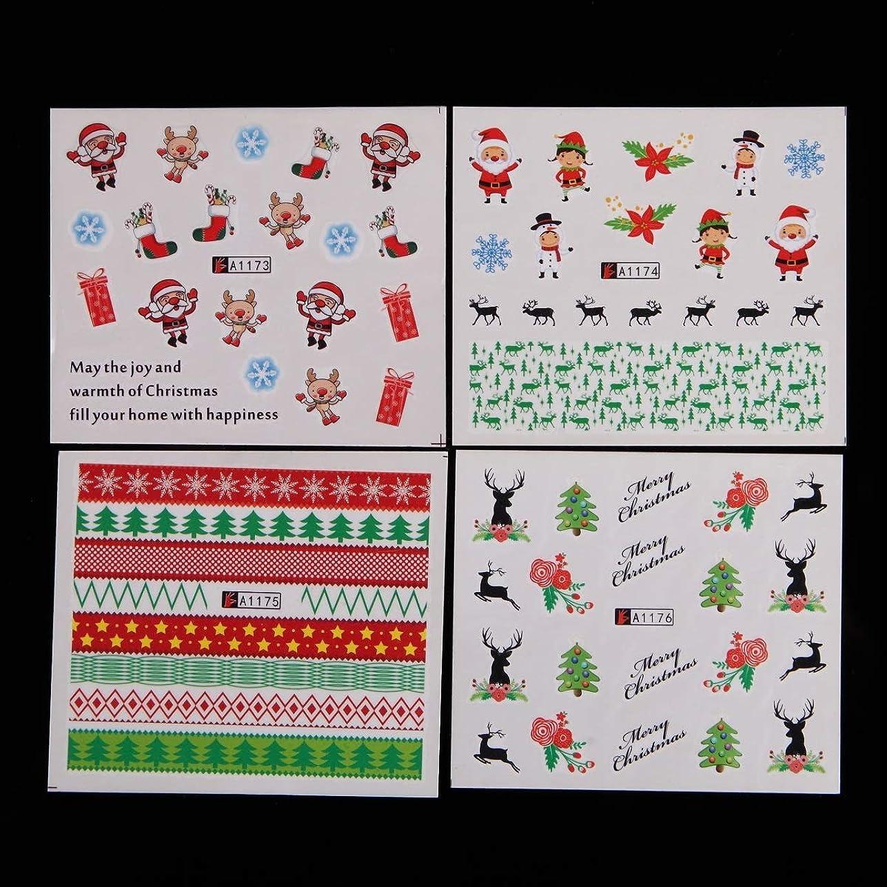中レルムむしろKerwinner 48個/セットネイルデカールステッカー自己接着DIYネイルアート水転写ヒントステンシルステッカー2ハロウィーンゴーストカボチャ城スカルとクリスマスの装飾ツールのスタイル (Color : CHRISTMAS SET)