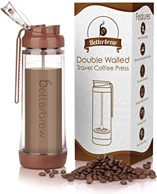 Betterbrew Travel French Press Coffee Maker | Portable Insulated Coffee Press with Plunger for Travel, Commuting and Outdoors