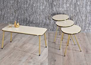 4 Piece Living Room Table Set, SUNRISE HOME DECOR - 1 Coffee Table and 3 Nesting Tables, NO-Tools Assembly (Beige/Gold, Re...