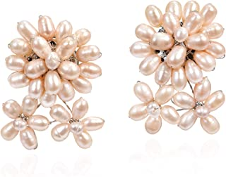 Beautiful Cluster of Cultured Freshwater Pink Pearl Floral Inspired Clip-on Earrings