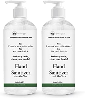 Sunytizer 70% Alcohol Hand Sanitizer - Made in USA - Moisturizing Hand Sanitizer Gel - Aloe Vera Hand Sanitizer with Alcohol to Kill 99.99% Germs - Hand Sanitizer with Pump Doesn't Dry Skin - 30.4 Oz