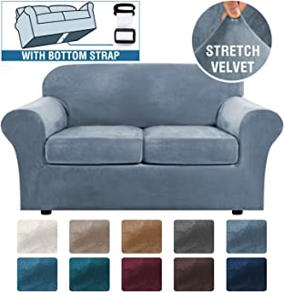 Real Velvet Plush 3 Piece Stretch Sofa Cover Velvet-Sofa Slipcover Loveseat Cover Furniture Protector Couch Soft Loveseat Slipcover for 2 Cushion Couch with Elastic Bottom(Loveseat,Stone Blue)