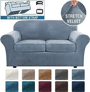 Real Velvet Plush 3 Piece Stretch Sofa Cover Velvet-Sofa Slipcover Loveseat Cover Furniture Protector Couch Soft Loveseat Slipcover for 2 Cushion Couch with Elastic Bottom(Loveseat,Stone Blue)