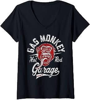 Womens Gas Monkey Hot Rod Garage Red Poster V-Neck T-Shirt