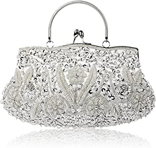 SSMY Beaded Sequin Flower Evening Purse Large Clutch Bag