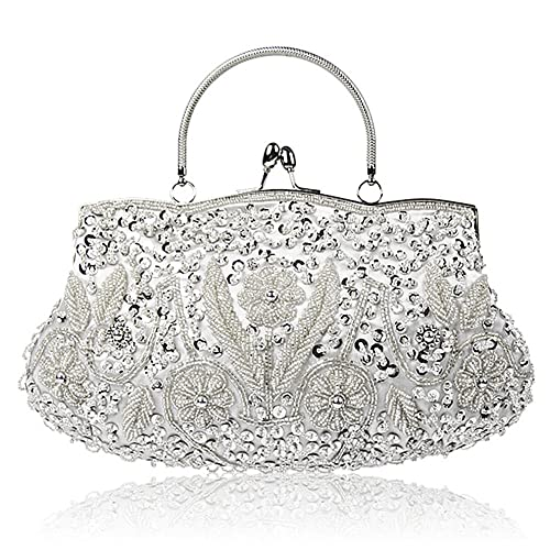 91bcf9ae1207 Collection Antique Floral Seed Bead Sequin Soft Clutch Evening Bag Designer  Purse Large Clutch Handbag