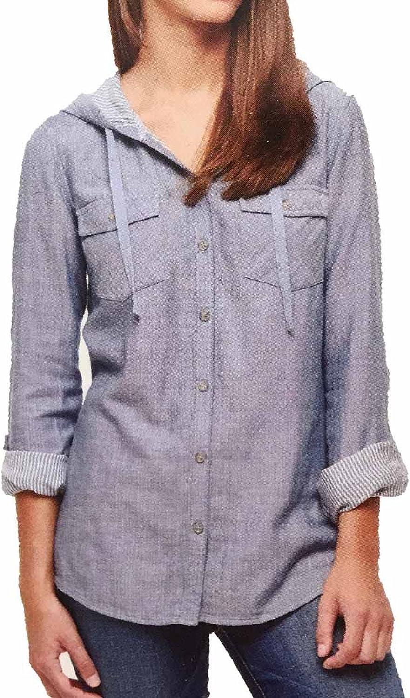 Boston Trader Ladies' Hooded Denim Button Up Shirt