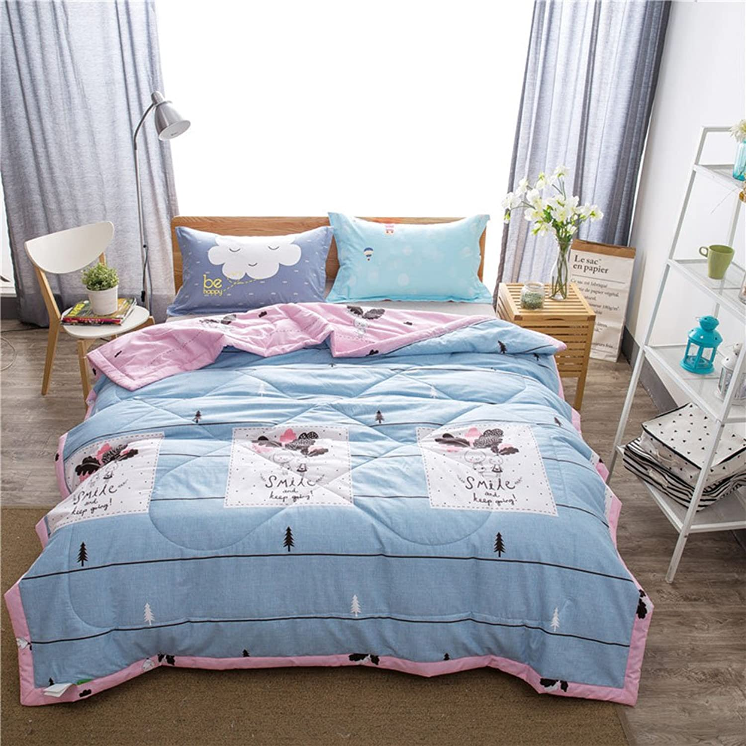 Uther Summer Quilts Twin Radish Girl Printed Thin Comforter Cotton Filled Air Conditioning Blankets for Kids Adults