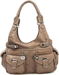 Women's Hobo Shoulder Bag, Soft Tote Satchel Washed PU Crossbody Purse Multiple Pockets Shoulder Bag Large Top-handle Handbag Off-white Size: Large