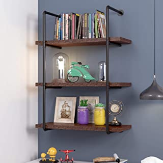 HOMECHO 3 Tier Wall Pipe Shelf Rustic Industrial Floating Shelving Unit Book Shelves for Home Office Storage Organizer, Retro Brown